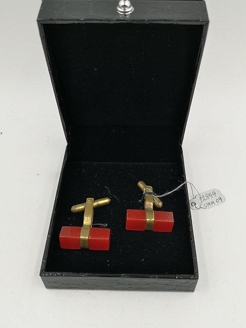 Red Amber cufflinks 1930s