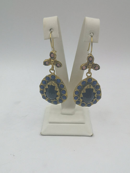 Lapis onyx gold plated Bronze Earrings