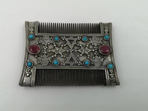 Afghan wedding silver comb Ruby