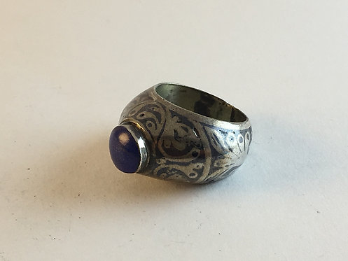 Afghan Lapis Niellow Work Silver Ring