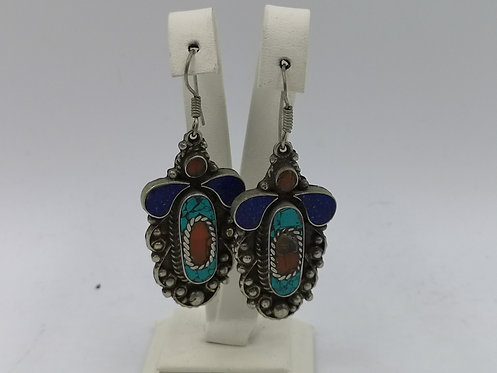 Turquoise Coral Lapis Nepalese Alpaka silver earrings