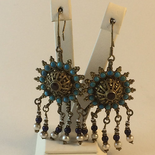 Uzbek 925k Silver Turquoise Ruby Lapis Pearl Earring set