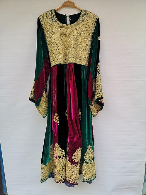 Afghan kutchi velvet wedding dress