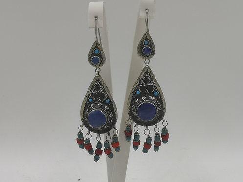 Silver Lapis coral Afghan earrings