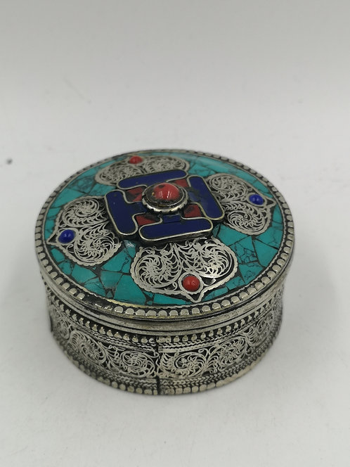 Tibetan Nepalese coral turquoise Alpaka box