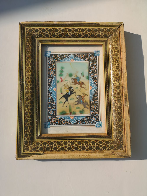 Iranian old miniature marquetry frame