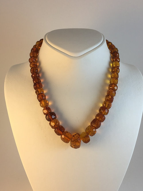 Faceted Natural Russian Amber Old Necklace