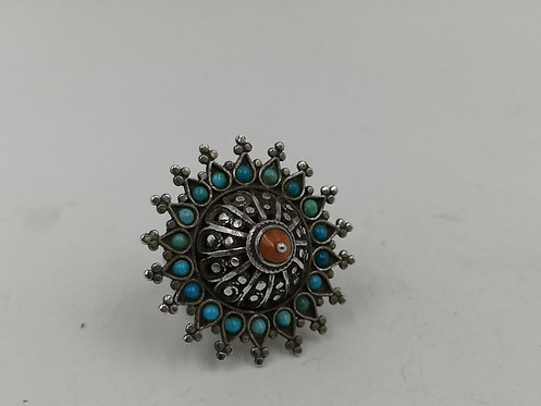 Uzbek Buchara turquoise Coral silver ring