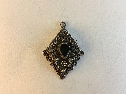 Afghan Silver Onyx Stone Pendant