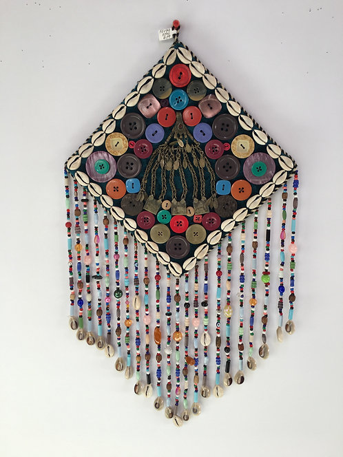 Turcoman Beaded Silver Kutchi Pendant Nazarlyk Wall Hanging