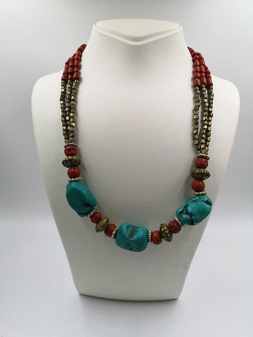 Turquoise and colored Coral Necklace