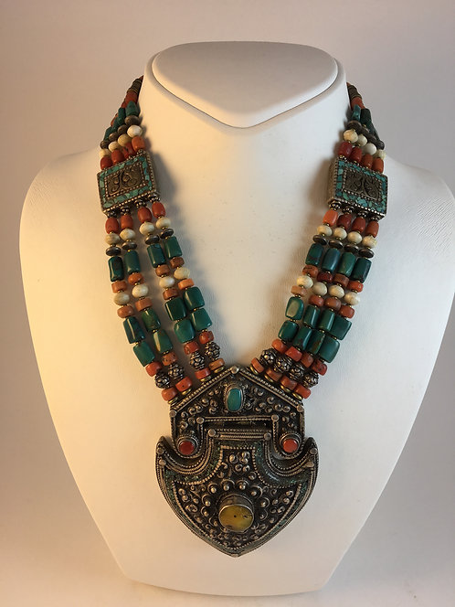 Tibetan Nepalese Silver Coral Turquoise Amber Necklace