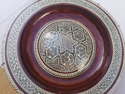 Cairo mother of pearl marquetry wooden plate