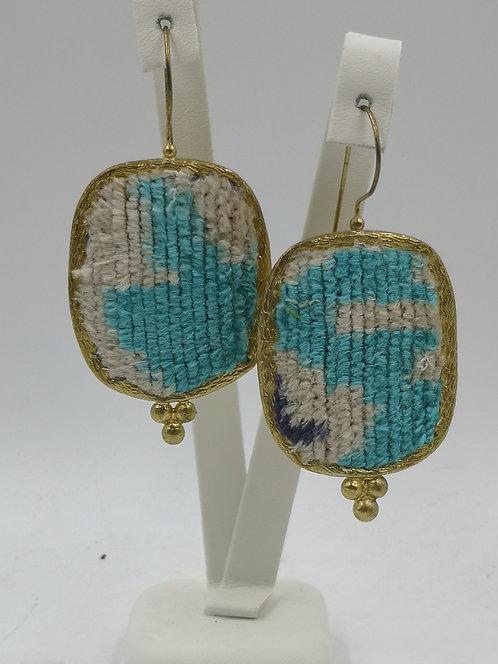 Silk velvet Ikkat 24k gold plated Bronze Earrings