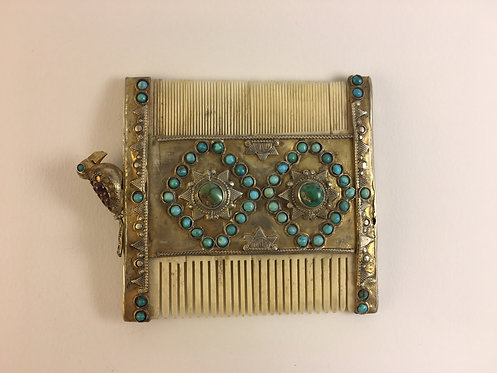 Afghan Turcoman Ivory Silver comb