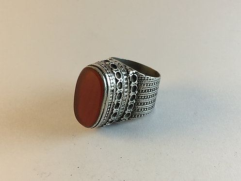 Afghan Silver Pashtun Agate Ring
