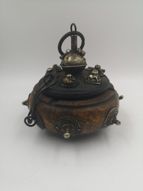 Wooden Afghan spice box with silver