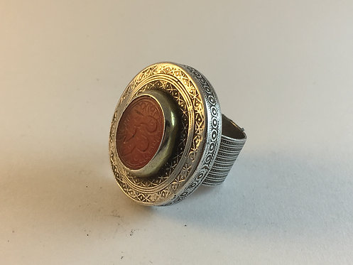 Turcoman Silver Ring with Signet Agate