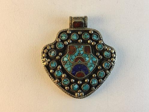 Tibetan White Metal Turquoise Coral Pendant