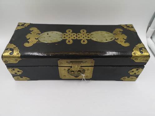 Chinese wood jade and brass jewellery box