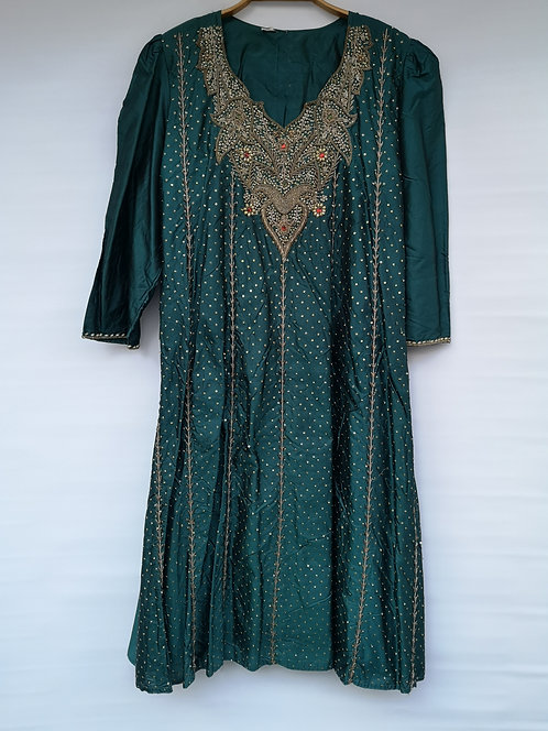 North East Pakistan silk dress silver embroidery