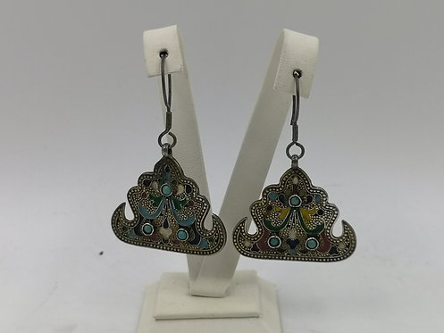 Uzbek Buchara enamelled turquoise silver earrings