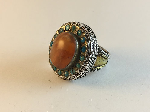 Turcoman Agate Turquoise Gold Gilded Silver Ring