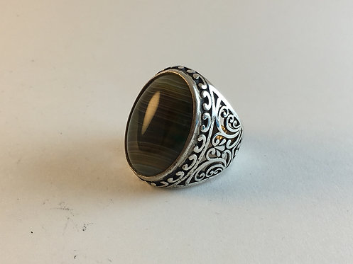 Afghan Agate Silver Ring
