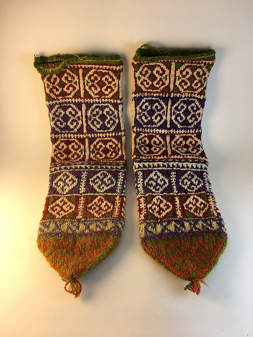 Hand Knitted Old Turkish Wool Village Socks