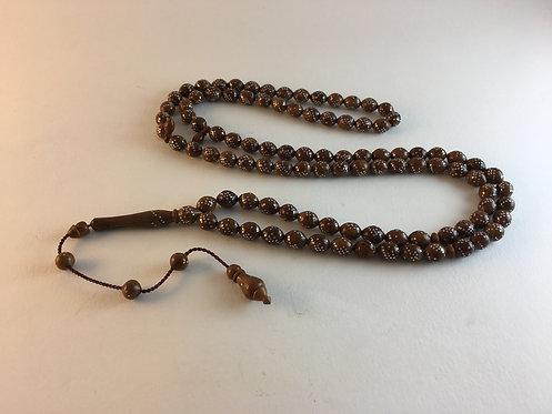 Silver Inlaid Coca Wood 99 Konya Prayer Bead