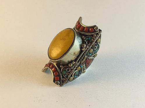 Tibetan Mosaic Silver Ring