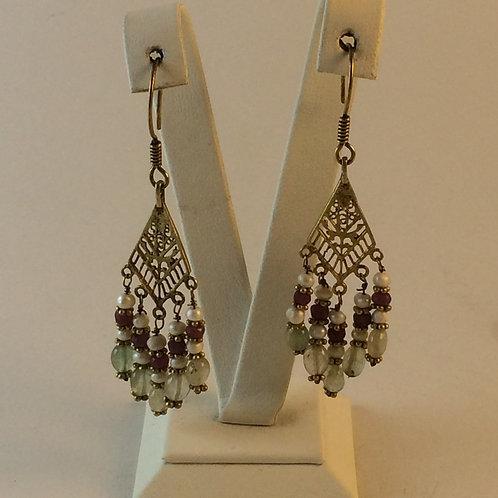 Silver Gold Plated Uzbek Earring set