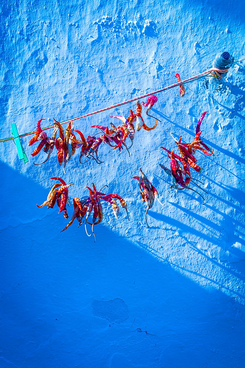 Chillies On Blue Wall