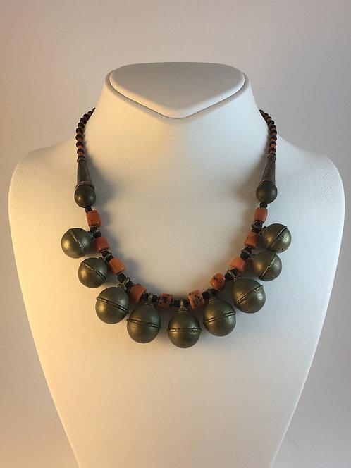 Uzbek Silver Coral Necklace