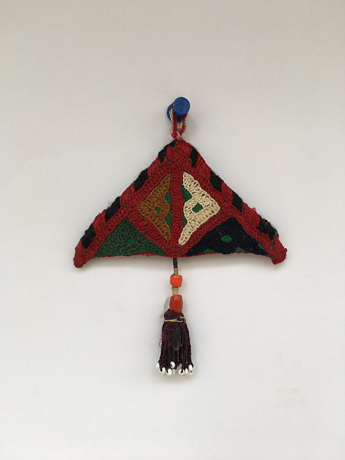 """Afghan Embroidered Suzani """"Duacık"""" Amulet Old Wall Hanging"""