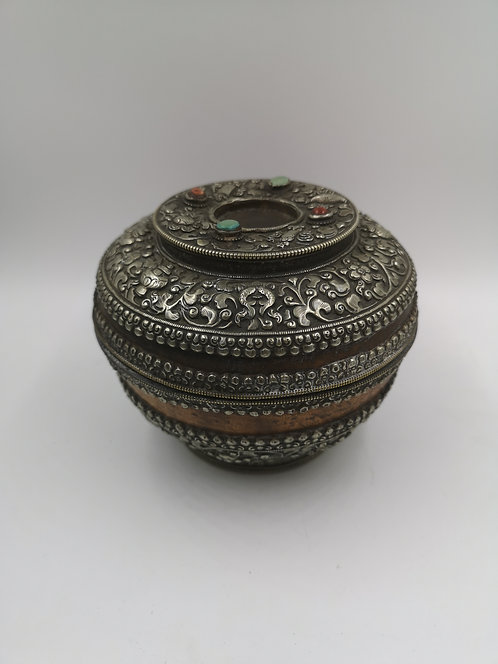 Tibetan Nepalese silver wooden box