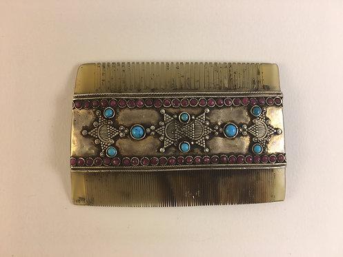 Afghan Kazakh Silver Fine Horn Comb