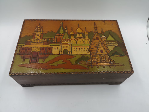 Russian colored wooden box