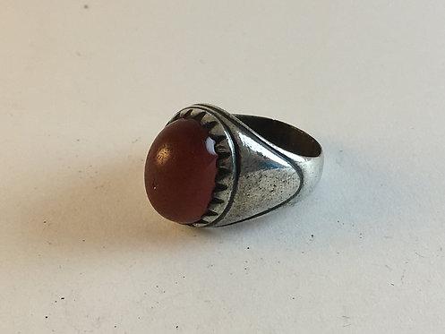 Iranian Hand Made Cornelian Agate Old Silver Ring