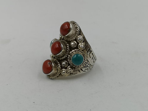 Tibetan Nepalese coral turquoise silver ring