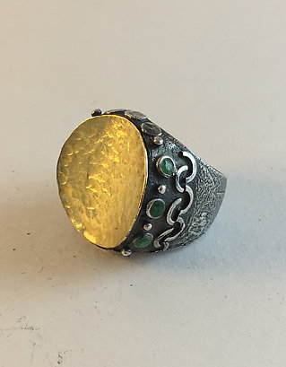 Turkish Silver Hammered Gold Emerald Ring