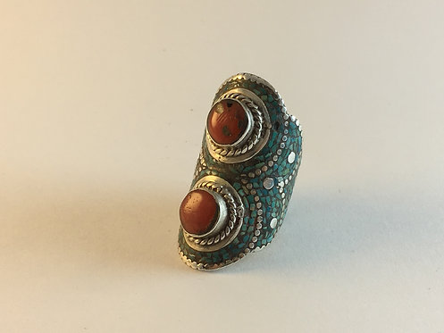 Tibetan Mosaic Silver Ring with Turquoise and Coral