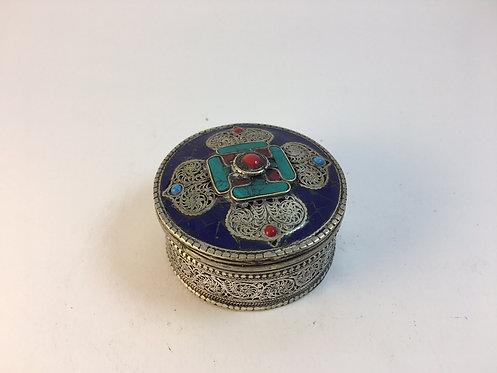 Tibetan Nepalese Silver White Metal Box