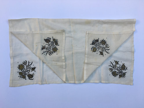 Ottoman Gold Embroidered Cotton Peshkir Towel