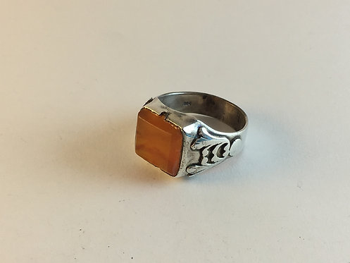 Honey Agate Hand Made Silver Ring