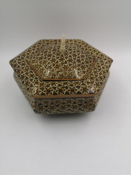 Iranian Hatemi work marquetry hexagon box