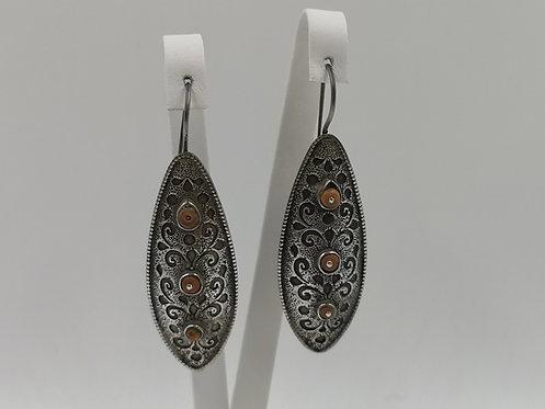 Fine engraved silver coral Uzbek earrings