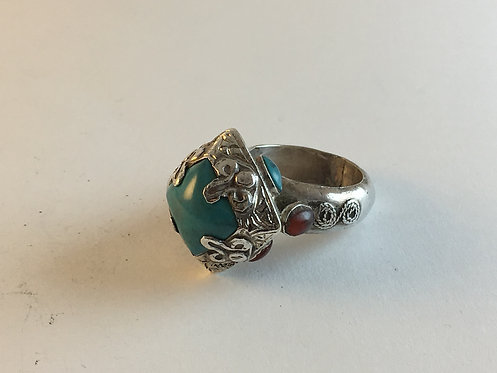 Afghan Silver Coral Turquoise Ring