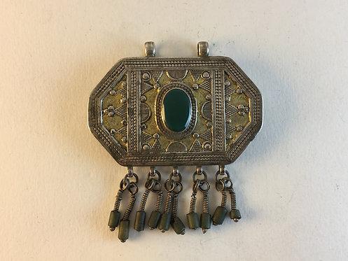 Afghan Kazakh Green Agate Silver Pendant