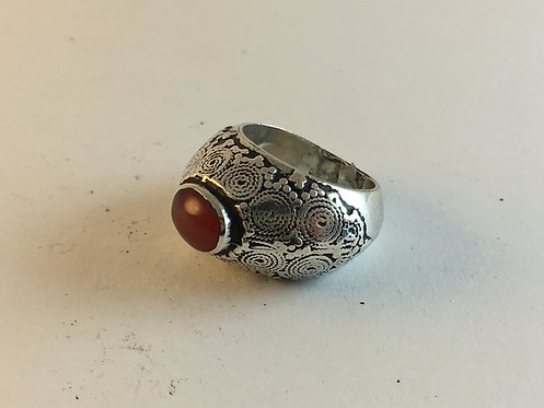 Afghan Silver Agate Ring